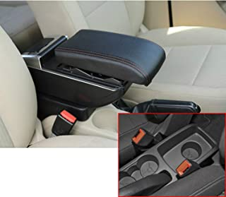 for 2009-2015 Ford Fiesta 3 MK7 Car Interior Accessories Center Console Armrest Box,Oversized Storage Space,Cover can be Raised,Built-in LED Light,with Cup Holder,Removable Ashtray,Black