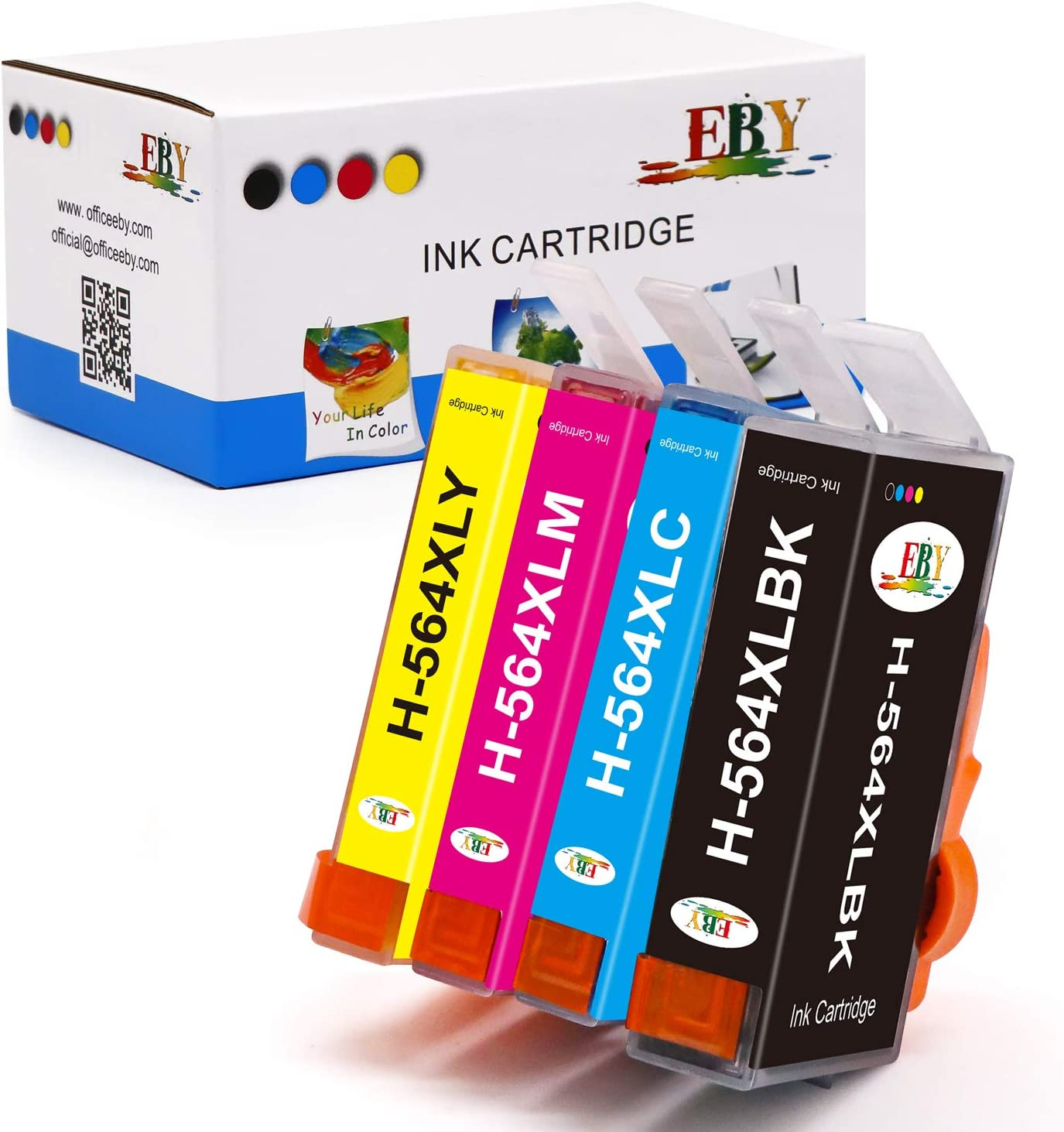 EBY Compatible Ink Cartridge Replacement for HP 564XL 564 XL for Deskjet 3520 3522 3521 Officejet 4620 4620 Photosmart 7520 6520 5520 7525 6525 5525 5510 6510 7510 (Black,Cyan,Magenta,Yellow, 4-Pack)