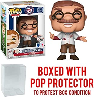 POP! Sports MLB Mascots Washington Nationals, Theodore Teddy Roosevelt #15 Action Figure (Bundled with Pop Box Protector to Protect Display Box)