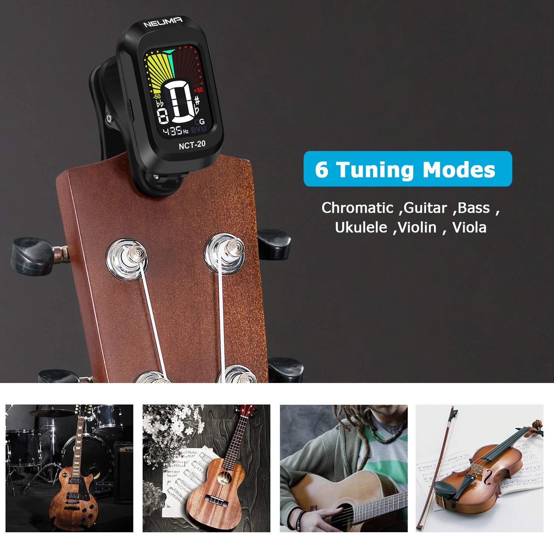 Numa - Afinador cromático para guitarra, bajo, violín, ukelele ...