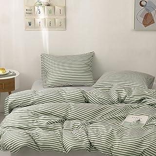 Argstar 2 Pcs Striped Duvet Cover Set Twin, Green Reversible Bedding Set with Zipper, 100% Soft Microfiber Comforter Cover...