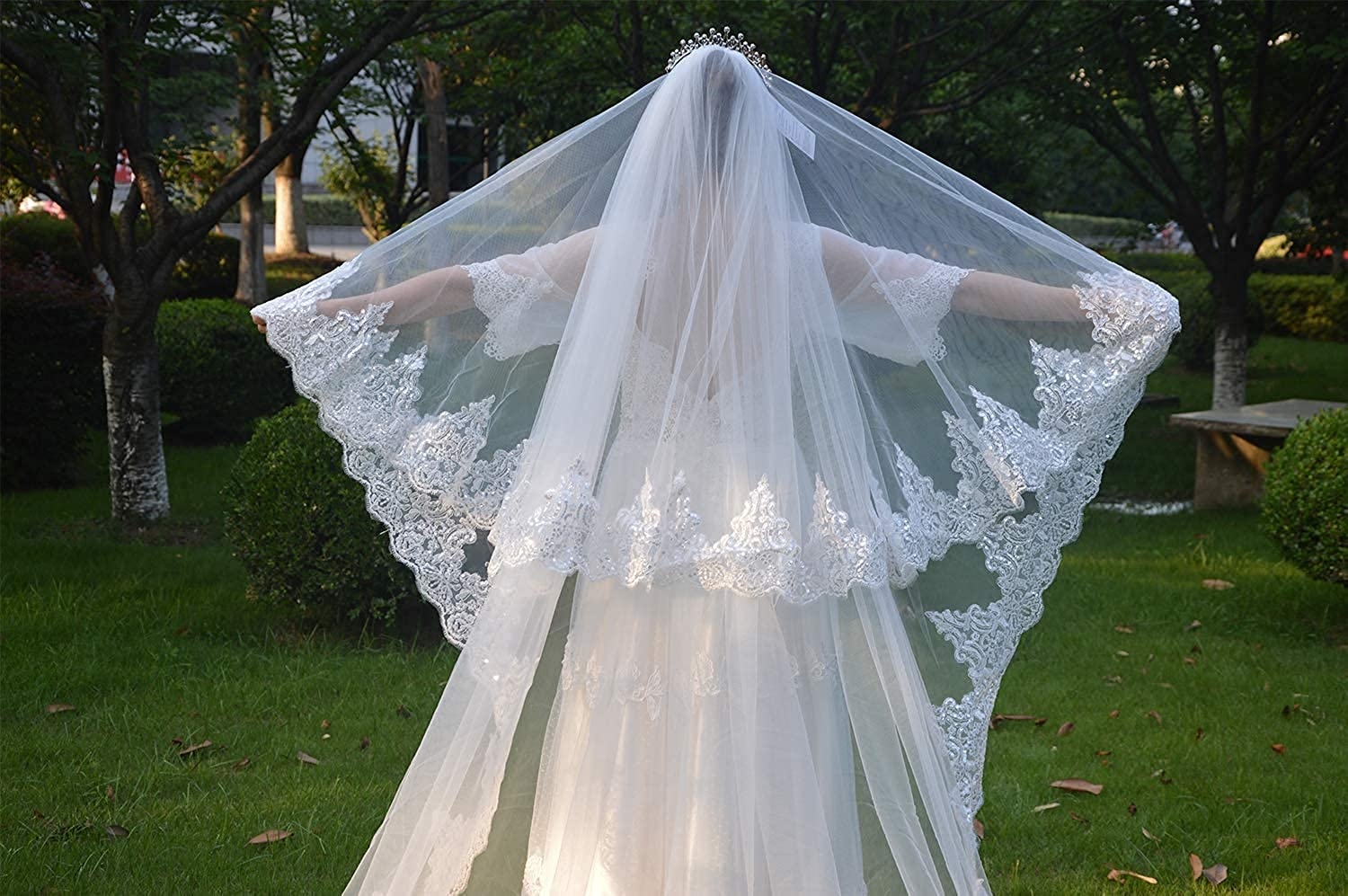 Weddings Veils 1 Tier Long Cathedral Sequins Floral Lace Egde with Comb