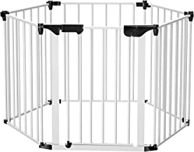 Bammax Fireplace Fence, Extensible Baby Safety Fence Hearth Gate Playpen 3 in 1 Multi-Function Play Yard Durable Pet Steel Fire Gate, Black