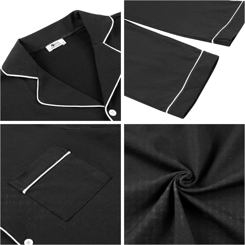 Men's Cotton Long Sleeve Pajamas Set Button Down Sleepwear Pjs with Pockets