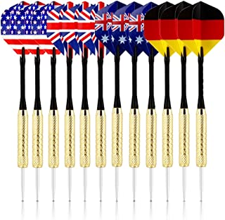 briteNway Set of 12 Tip Darts Premium Quality Darts for Dartboard Game with 4 Styles of National Flag Flights – Stainless Steel Needle Tip – Bonus 3 PVC Replacement Rods & Storage Case Included