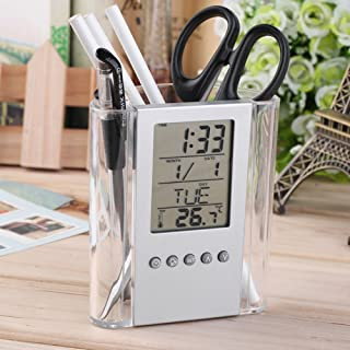 LC-Home Decor Digital Desk Pen Pencil Holder Thermometer Calendar Display LCD Alarm Clock - Silver