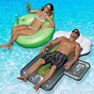 Swimline Margarita Ring and Beer Mug Mattress Swimming Pool Floats Combo Pack