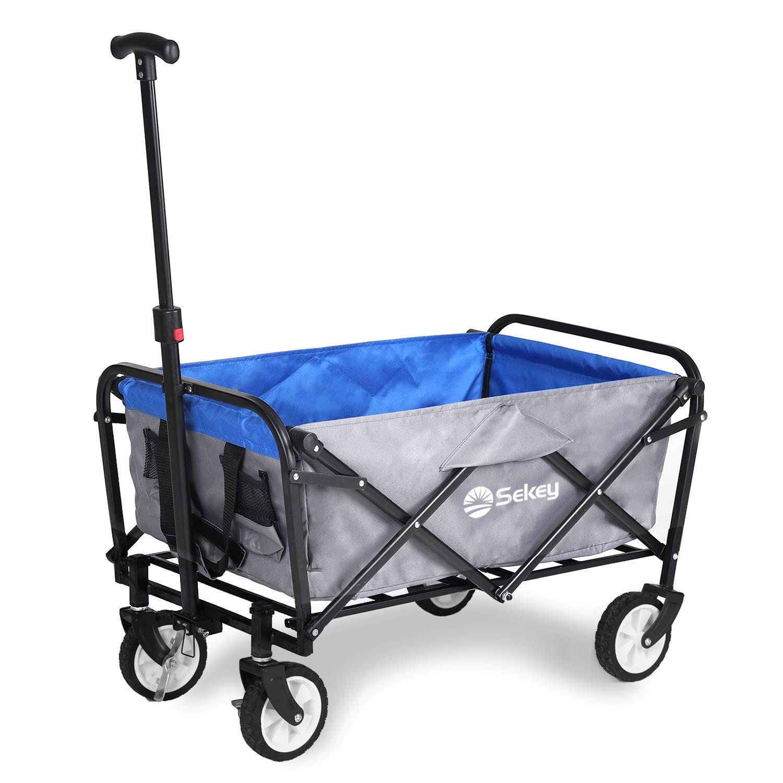 Sekey Mini Carrito Vagón Plegable para Exterior, Carro de Servicio con Frenos y Asa/Tirador Telescópico, para jardín, Carrito Plegable Carretillas de Jardín, Gris con Azul: Amazon.es: Jardín