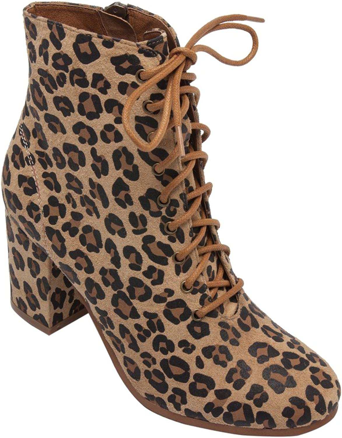 PIC PAY Benji - Women's Lace-Up Vintage Zipper Boot - Mid Height Wrapped Suede Leather Block Heel Ankle Bootie Tan Black Leopard Suede 8M