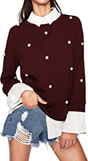Women's Peter Pan Collar Beading Long Sleeve Sweatshirt