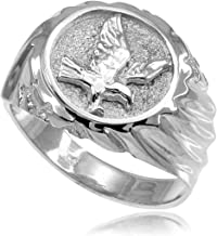 High Polish 925 Sterling Silver American Eagle Ring for Men