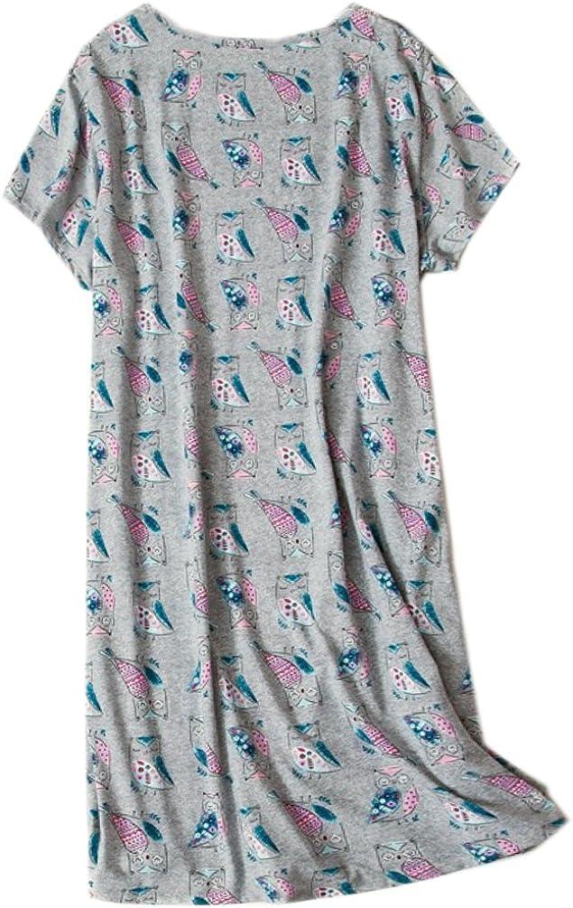 ENJOYNIGHT Womens Sleepwear Cotton Sleep Tee Short Sleeves Print Sleepshirt