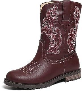 gracosy Kvinnors vinter mitt vadstövlar damer läder låga platta ankelstövlar knäkorta stövlar western cowgirl stövlar hand...