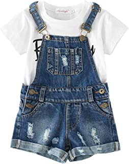 Chumhey Big&Little Girls 2Pc Big Bib Jeans Summer Shortalls Set T-Shirts