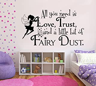 """Imprinted Designs All You Need is Love, Trust, and a Little Fairy Dust with Fairy Vinyl Wall Decal Sticker Art 23"""" X 42"""" B..."""