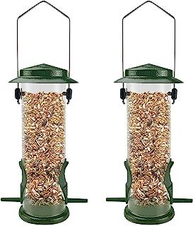 MIXXIDEA Metal Wild Birds Feeders 2 Packs Tube Bird Feeder Stainless Steel Hanging Bird Feeder for Garden Backyard Outside...