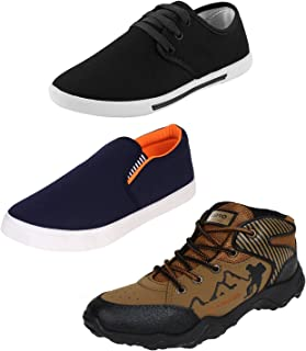Earton Men Combo Pack of 3 Casual Shoes with Loafer & Moccasins