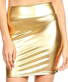 Sakkas Womens Metallic Sexy Shiny Elastico Short Pencil Party Skirt Made in USA