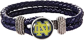 Swamp Fox Notre Dame Fighting Irish Double Leather Band Bracelet with Charm 7