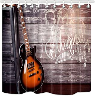 NYMB Music Theme Shower Curtain Set, Electric Guitar in Wooden Home Interior Leaning on Chair Passion Concept Shower Curtains, Waterproof Fabric Bathroom Bath Curtains Hooks 12PCS Included, 69X70 in