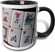 3dRose 12772_4 Luv Mah Jongg - Two Tone Black Mug, 11 oz, Multicolor