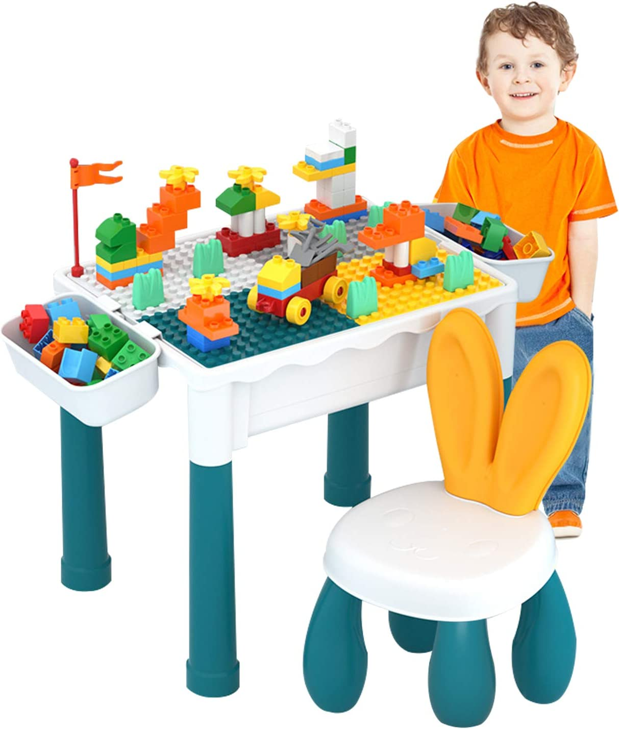 1Chair /& 2 Storage,Blocks Compatible for Kids 3-9Y Barakara Building Table Set,7-in-1 Activity Table Set with 102Pcs Building Bricks