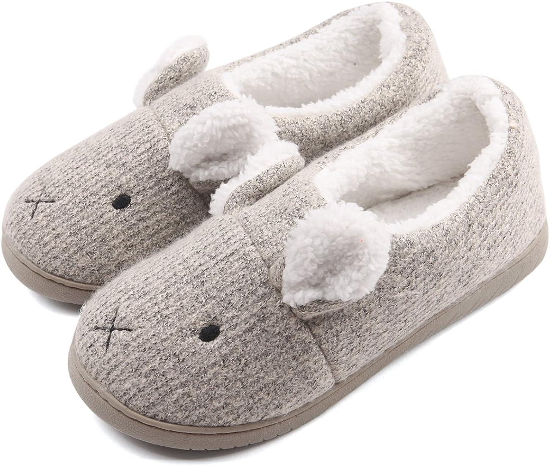 Neeseelily Women Comfort Plush Cozy Home Slippers Animal Non Slip Indoor shoes