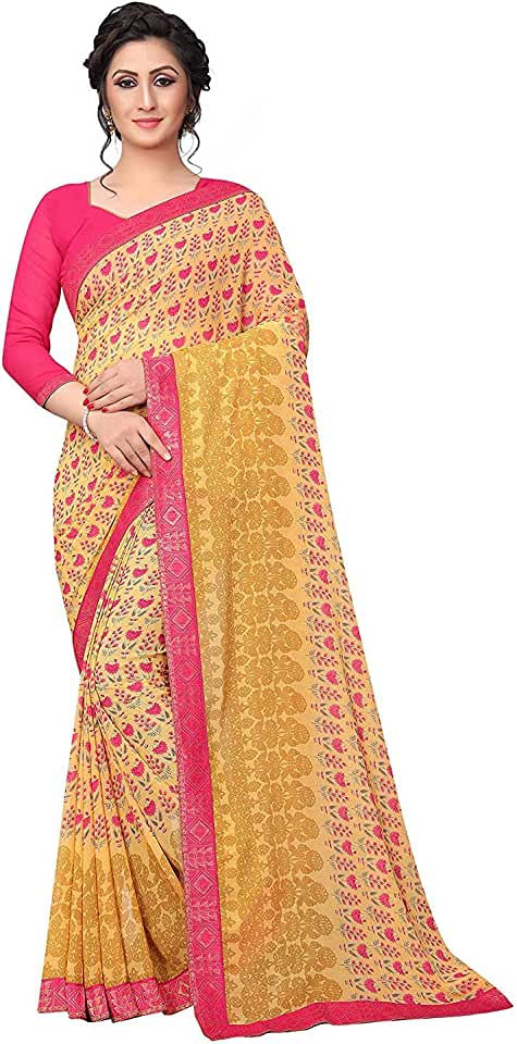Indian RAJESHWAR FASHION WITH RF Women's Georgette Printed Sarees With Jacquard Lace Border Work Sarees For Women Party Wear Sare... Saree