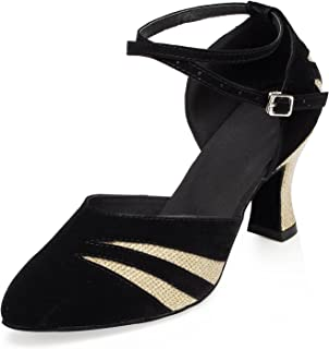 Honeystore Closed Toe Ankle Strap Latin Dance Shoes