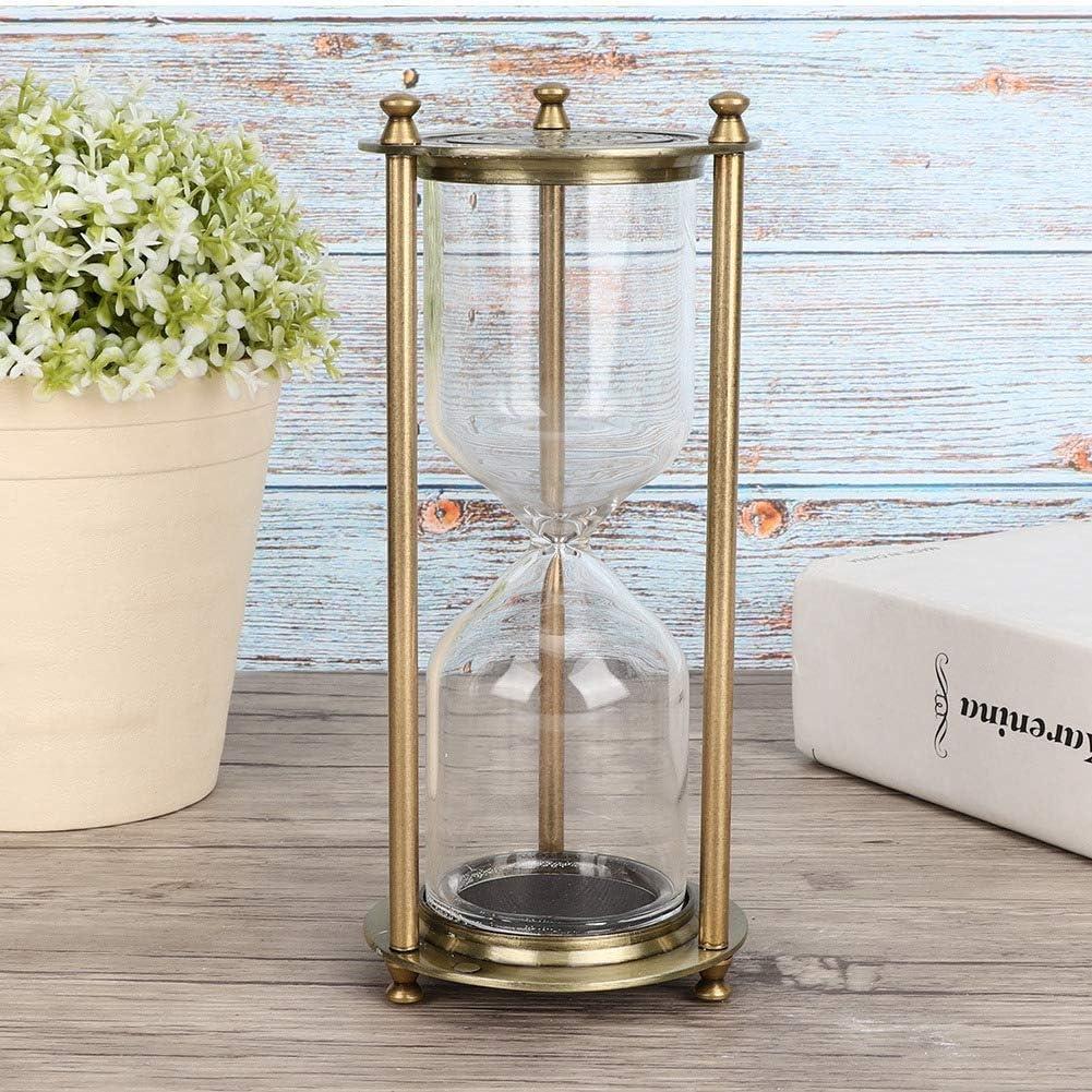 Reloj de arena de cobre de imitación de alivio de aleación,Vidrio Reloj de arena Temporizador Accesorio de regalo Adorno para decoración del hogar de oficina (sin arena)(Small)