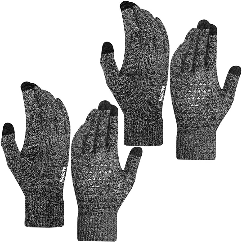 HSLGOVE 2 Pairs Winter Knit Gloves Touchscreen Warm Thermal Soft Lining Elastic Cuff Anti-Slip 3 Size Choice for Men Women, Gray, Large