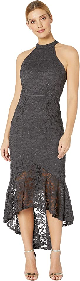 772c5b46166 Glitter Lace Halter-Neck Dress with High-Low Flounce