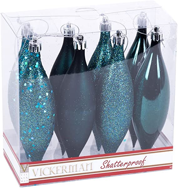 Vickerman N500162 Shatterproof Drop Ornament With 4 Separate Finishes Shiny Matte Glitter And Sequin In 8 Per Box 5 5 Sea Blue