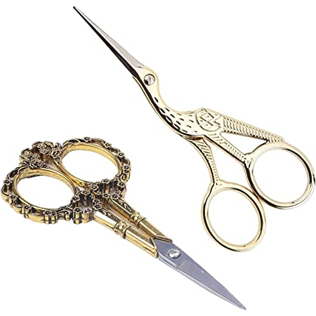 BIHRTC Gold Vintage Plum Blossom Scissors and Classic Crane Design Sewing Scissors for Embroidery, Sewing, Craft, Art Work & Everyday Use