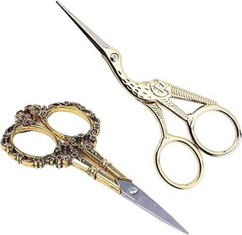 BIHRTC Gold Vintage Plum Blossom Scissors and Classic Crane Design Sewing Scissors for Embroidery, Sewing, Craft, Art...