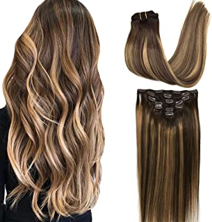 Googoo 7pcs 120g Hair Extensions Clip in Remy Ombre Chocolate Brown to Honey Blonde Balayage Clip in Human Hair Extensions Natural Hair Extensions Straight Real Hair Extensions 20 inch