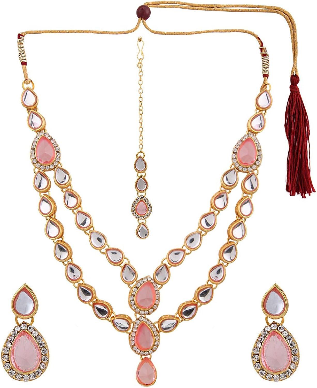 Efulgenz Indian Layered Traditional Bollywood 14 k Gold Plated Red Green Faux Kundan Bridal Necklace Earrings Maangtika Wedding Jewelry Set
