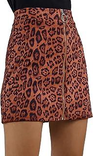 Bowanadacles Mini Falda para Mujer de Invierno Otoño Falda Corta Línea en A de Cintura Alta Cremallera Casual Sexy Moda