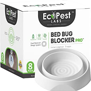 Bed Bug Interceptors - 8 Pack | Bed Bug Blocker (Pro) Interceptor Traps (White) | Eco Friendly Insect Trap for Bed Legs | No Chemicals or Pesticides | Monitor, Detector, and Trap for Bed Bugs