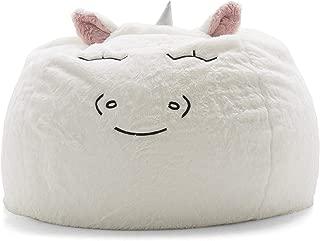 Big Joe Lux Wild Bunch Unicorn, Super Soft Plush Bean Bag, White
