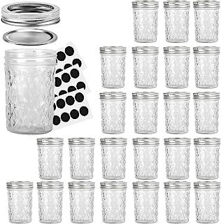 Mason Jars 8OZ, VERONES 8 OZ Canning Jars Jelly Jars With Regular Lids and Bands, Ideal for Jam, Honey, Wedding Favors, Sh...