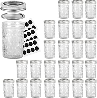 Mason Jars 8OZ, VERONES 8 OZ Canning Jars Jelly Jars With Regular Lids and Bands, Ideal for Jam, Honey, Wedding Favors, Shower Favors, Baby Foods, 24 PACK