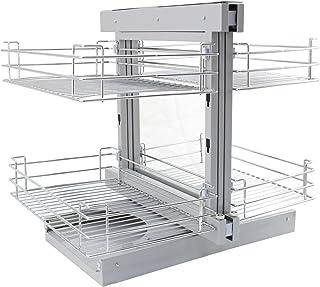 Kukoo - 4 Cestos de Acero Inoxidable para Mueble de Rincón Ciego 90-100cm Mano Izquierda