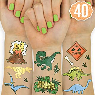 xo, Fetti Dinosaur Temporary Tattoos for Kids - 40 Styles | Birthday Party Supplies, Dinosaur Party Favors, T-rex Decorations