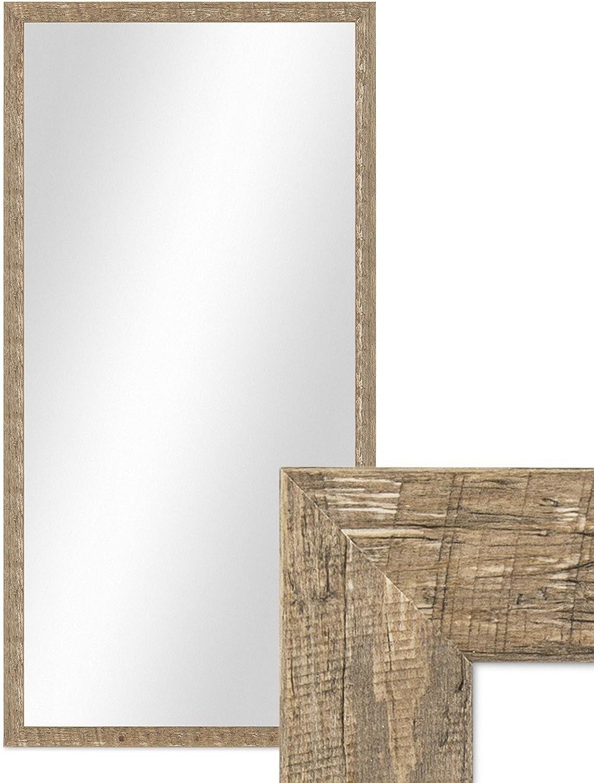 PHOTOLINI Wand-Spiegel 56x106 cm im Holzrahmen Strandhaus-Stil Eiche-Optik Rustikal Spiegelflche 50x100 cm