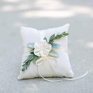 Eucalyptus Ring Bearer Pillow - Ivory Linen Ring Bearer Pillow - Wedding Ring Pillow - Modern Ring Bearer Display with Greenery by Ragga Wedding