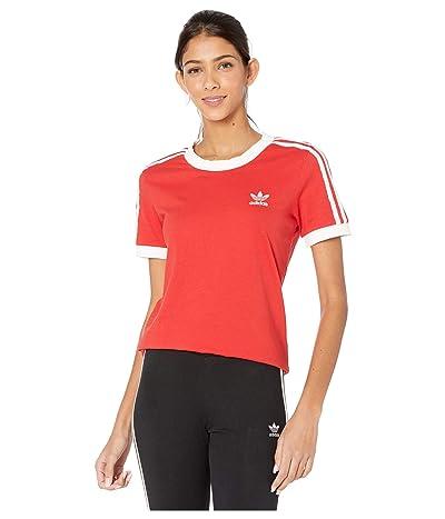 adidas Originals 3-Stripes Tee (Lush Red/White) Women
