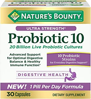 Nature's Bounty Ultra Strength Probiotic 10, Support for Digestive, Immune and Upper Respiratory Health, 30 Capsules