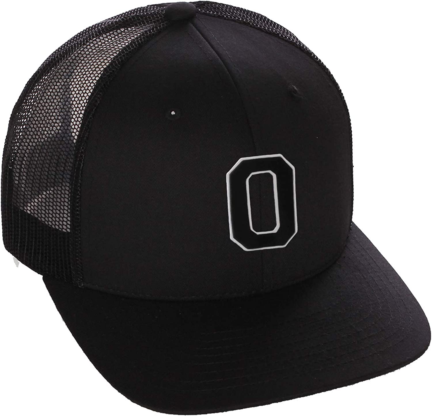 Structured Trucker Mesh Hat Custom Colors Letter O Initial Baseball Mid Profile