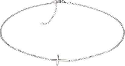 Sterling Silver First Communion Sideways Horizontal Cross Necklace for Girls and Women